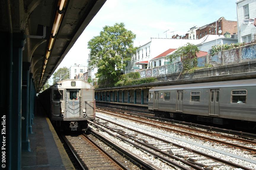 (251k, 864x574)<br><b>Country:</b> United States<br><b>City:</b> New York<br><b>System:</b> New York City Transit<br><b>Line:</b> BMT Sea Beach Line<br><b>Location:</b> Bay Parkway (22nd Avenue) <br><b>Route:</b> N<br><b>Car:</b> R-32 (Budd, 1964)  3479 <br><b>Photo by:</b> Peter Ehrlich<br><b>Date:</b> 9/30/2006<br><b>Notes:</b> With R68A 5182 inbound at right.<br><b>Viewed (this week/total):</b> 0 / 2734