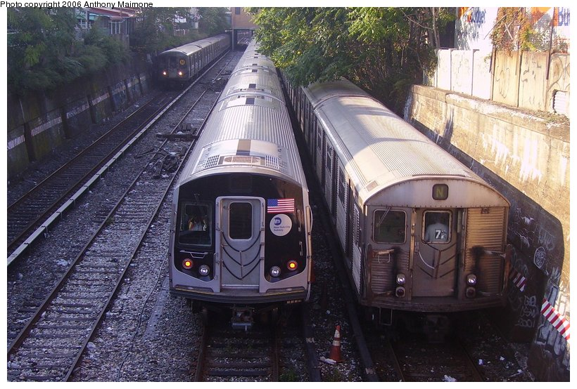 (144k, 820x554)<br><b>Country:</b> United States<br><b>City:</b> New York<br><b>System:</b> New York City Transit<br><b>Line:</b> BMT Sea Beach Line<br><b>Location:</b> 20th Avenue <br><b>Route:</b> Testing.<br><b>Car:</b> R-160A-2 (Alstom, 2005-2008, 5 car sets)  8653 <br><b>Photo by:</b> Anthony Maimone<br><b>Date:</b> 10/4/2006<br><b>Notes:</b> With R68 and R32 N trains.<br><b>Viewed (this week/total):</b> 2 / 5146