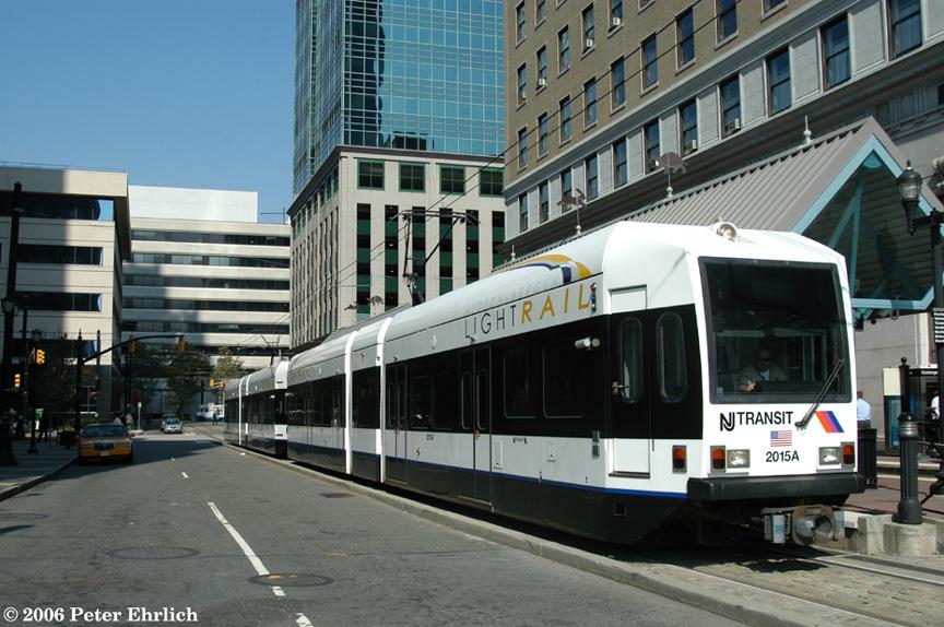 (214k, 864x574)<br><b>Country:</b> United States<br><b>City:</b> Jersey City, NJ<br><b>System:</b> Hudson Bergen Light Rail<br><b>Location:</b> Exchange Place <br><b>Car:</b> NJT-HBLR LRV (Kinki-Sharyo, 1998-99)  2015+2020 <br><b>Photo by:</b> Peter Ehrlich<br><b>Date:</b> 9/28/2006<br><b>Viewed (this week/total):</b> 0 / 1284