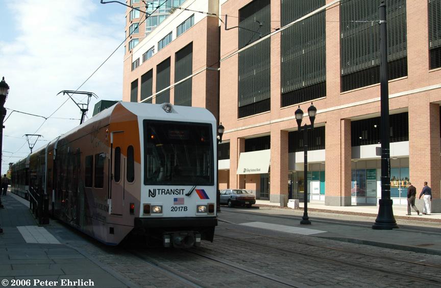 (200k, 864x564)<br><b>Country:</b> United States<br><b>City:</b> Jersey City, NJ<br><b>System:</b> Hudson Bergen Light Rail<br><b>Location:</b> Essex Street <br><b>Car:</b> NJT-HBLR LRV (Kinki-Sharyo, 1998-99)  2017 <br><b>Photo by:</b> Peter Ehrlich<br><b>Date:</b> 9/28/2006<br><b>Viewed (this week/total):</b> 0 / 1290
