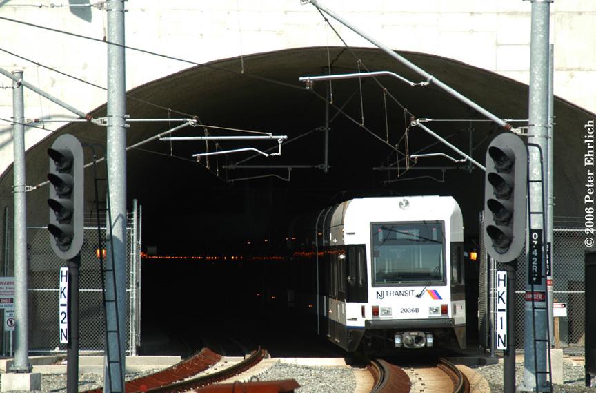 (193k, 864x569)<br><b>Country:</b> United States<br><b>City:</b> Weehawken, NJ<br><b>System:</b> Hudson Bergen Light Rail<br><b>Location:</b> Weehawken (Palisade) Tunnel (East Portal) <br><b>Car:</b> NJT-HBLR LRV (Kinki-Sharyo, 1998-99)  2036 <br><b>Photo by:</b> Peter Ehrlich<br><b>Date:</b> 9/28/2006<br><b>Viewed (this week/total):</b> 0 / 1697