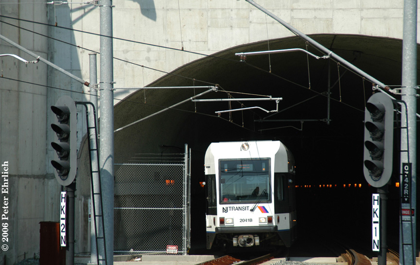 (170k, 864x545)<br><b>Country:</b> United States<br><b>City:</b> Weehawken, NJ<br><b>System:</b> Hudson Bergen Light Rail<br><b>Location:</b> Weehawken (Palisade) Tunnel (East Portal) <br><b>Car:</b> NJT-HBLR LRV (Kinki-Sharyo, 1998-99)  2041 <br><b>Photo by:</b> Peter Ehrlich<br><b>Date:</b> 9/28/2006<br><b>Viewed (this week/total):</b> 0 / 1526
