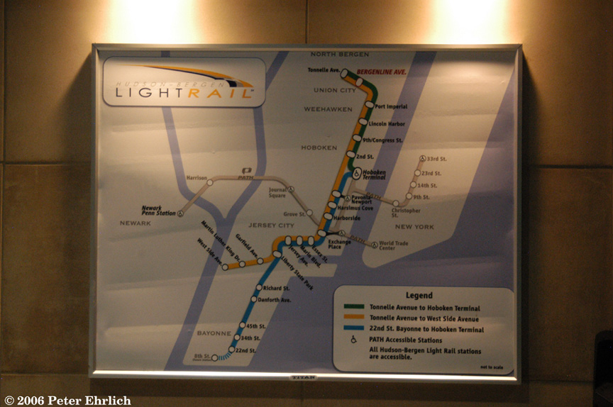 (170k, 864x574)<br><b>Country:</b> United States<br><b>City:</b> Union City, NJ<br><b>System:</b> Hudson Bergen Light Rail<br><b>Location:</b> Bergenline Avenue <br><b>Photo by:</b> Peter Ehrlich<br><b>Date:</b> 9/28/2006<br><b>Notes:</b> System Map at Bergenline Ave.<br><b>Viewed (this week/total):</b> 0 / 2580