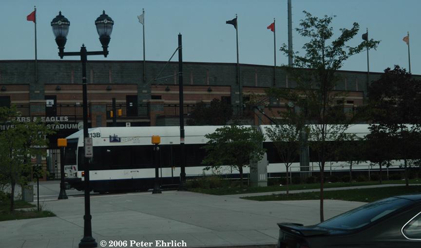 (137k, 864x508)<br><b>Country:</b> United States<br><b>City:</b> Newark, NJ<br><b>System:</b> Newark City Subway<br><b>Location:</b> Riverfront Stadium (NB) <br><b>Car:</b> NJT Kinki-Sharyo LRV (Newark) 113 <br><b>Photo by:</b> Peter Ehrlich<br><b>Date:</b> 9/28/2006<br><b>Notes:</b> Riverfront Stadium Station outbound.<br><b>Viewed (this week/total):</b> 3 / 1395