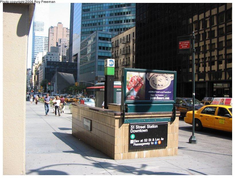 (123k, 820x620)<br><b>Country:</b> United States<br><b>City:</b> New York<br><b>System:</b> New York City Transit<br><b>Line:</b> IRT East Side Line<br><b>Location:</b> 51st Street <br><b>Photo by:</b> Roy Freeman<br><b>Date:</b> 9/10/2006<br><b>Notes:</b> Station entrance Lex & 51st.<br><b>Viewed (this week/total):</b> 0 / 4029