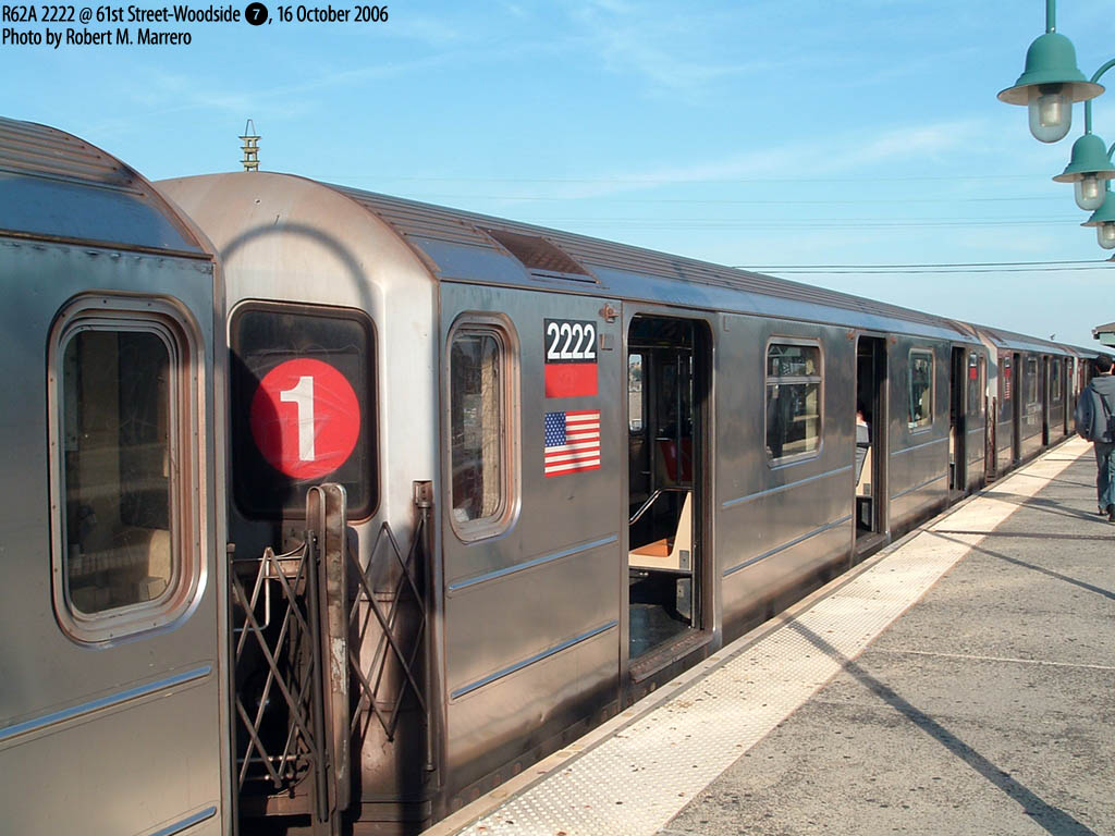 (168k, 1024x768)<br><b>Country:</b> United States<br><b>City:</b> New York<br><b>System:</b> New York City Transit<br><b>Line:</b> IRT Flushing Line<br><b>Location:</b> Junction Boulevard <br><b>Route:</b> 7<br><b>Car:</b> R-62A (Bombardier, 1984-1987)  2222 <br><b>Photo by:</b> Robert Marrero<br><b>Date:</b> 10/16/2006<br><b>Notes:</b> R62A 5-car sets from the #1 temporarily assigned to the 7. Note roll sign.<br><b>Viewed (this week/total):</b> 1 / 3810