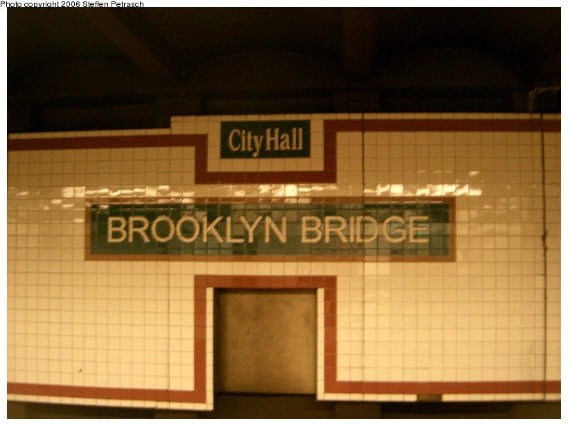 (103k, 820x615)<br><b>Country:</b> United States<br><b>City:</b> New York<br><b>System:</b> New York City Transit<br><b>Line:</b> IRT East Side Line<br><b>Location:</b> Brooklyn Bridge/City Hall <br><b>Photo by:</b> Steffen Petrasch<br><b>Date:</b> 9/18/2006<br><b>Notes:</b> Name tablet.<br><b>Viewed (this week/total):</b> 0 / 2837