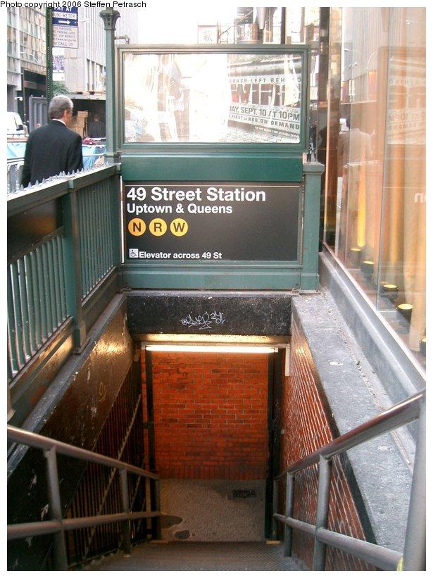 (153k, 615x821)<br><b>Country:</b> United States<br><b>City:</b> New York<br><b>System:</b> New York City Transit<br><b>Line:</b> BMT Broadway Line<br><b>Location:</b> 49th Street <br><b>Photo by:</b> Steffen Petrasch<br><b>Date:</b> 9/22/2006<br><b>Notes:</b> Station entrance.<br><b>Viewed (this week/total):</b> 3 / 3039