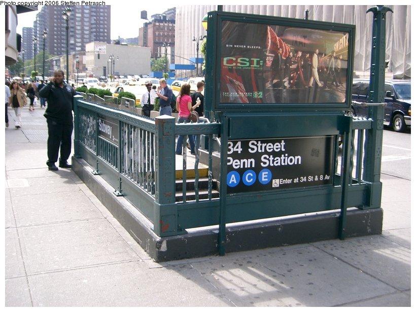 (157k, 820x615)<br><b>Country:</b> United States<br><b>City:</b> New York<br><b>System:</b> New York City Transit<br><b>Line:</b> IND 8th Avenue Line<br><b>Location:</b> 34th Street/Penn Station <br><b>Photo by:</b> Steffen Petrasch<br><b>Date:</b> 9/22/2006<br><b>Notes:</b> Station entrance.<br><b>Viewed (this week/total):</b> 0 / 2842