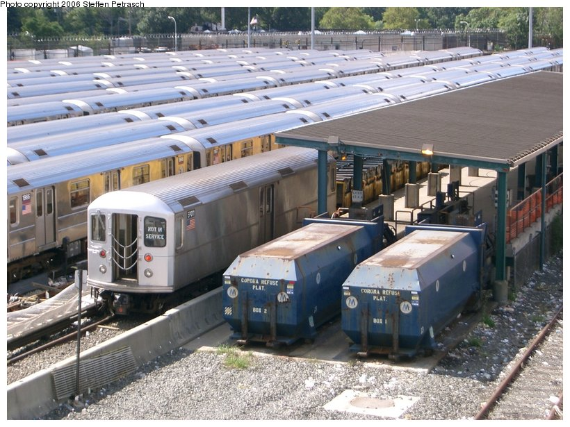 (176k, 820x615)<br><b>Country:</b> United States<br><b>City:</b> New York<br><b>System:</b> New York City Transit<br><b>Location:</b> Corona Yard<br><b>Car:</b> R-127/R-134 (Kawasaki, 1991-1996) EP011 <br><b>Photo by:</b> Steffen Petrasch<br><b>Date:</b> 9/25/2006<br><b>Viewed (this week/total):</b> 0 / 2690