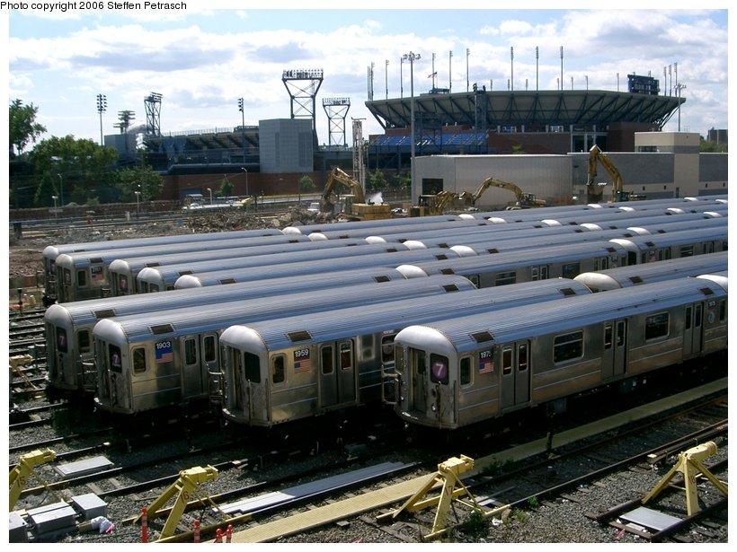 (169k, 820x615)<br><b>Country:</b> United States<br><b>City:</b> New York<br><b>System:</b> New York City Transit<br><b>Location:</b> Corona Yard<br><b>Car:</b> R-62A (Bombardier, 1984-1987)  1975 <br><b>Photo by:</b> Steffen Petrasch<br><b>Date:</b> 9/25/2006<br><b>Notes:</b> Demolition of old shop in progress.<br><b>Viewed (this week/total):</b> 1 / 1818