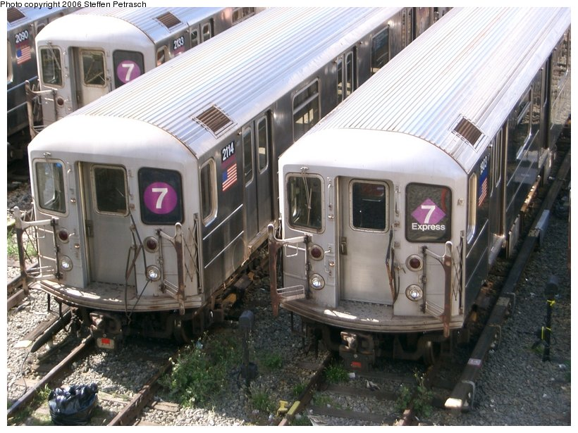 (166k, 820x615)<br><b>Country:</b> United States<br><b>City:</b> New York<br><b>System:</b> New York City Transit<br><b>Location:</b> Corona Yard<br><b>Car:</b> R-62A (Bombardier, 1984-1987)  2114 <br><b>Photo by:</b> Steffen Petrasch<br><b>Date:</b> 9/25/2006<br><b>Viewed (this week/total):</b> 3 / 1890