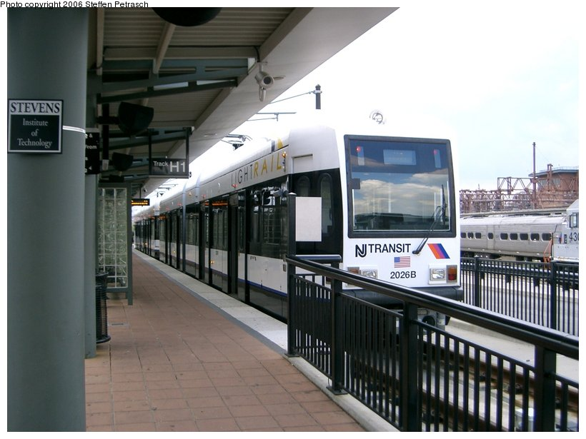 (128k, 820x615)<br><b>Country:</b> United States<br><b>City:</b> Hoboken, NJ<br><b>System:</b> Hudson Bergen Light Rail<br><b>Location:</b> Hoboken <br><b>Car:</b> NJT-HBLR LRV (Kinki-Sharyo, 1998-99)  2026 <br><b>Photo by:</b> Steffen Petrasch<br><b>Date:</b> 9/27/2006<br><b>Viewed (this week/total):</b> 1 / 1068