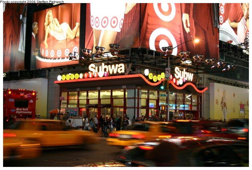 (117k, 820x554)<br><b>Country:</b> United States<br><b>City:</b> New York<br><b>System:</b> New York City Transit<br><b>Line:</b> IRT West Side Line<br><b>Location:</b> Times Square/42nd Street <br><b>Photo by:</b> Steffen Petrasch<br><b>Date:</b> 9/28/2006<br><b>Notes:</b> Station entrance at 7th Av/42nd Street.<br><b>Viewed (this week/total):</b> 2 / 4551