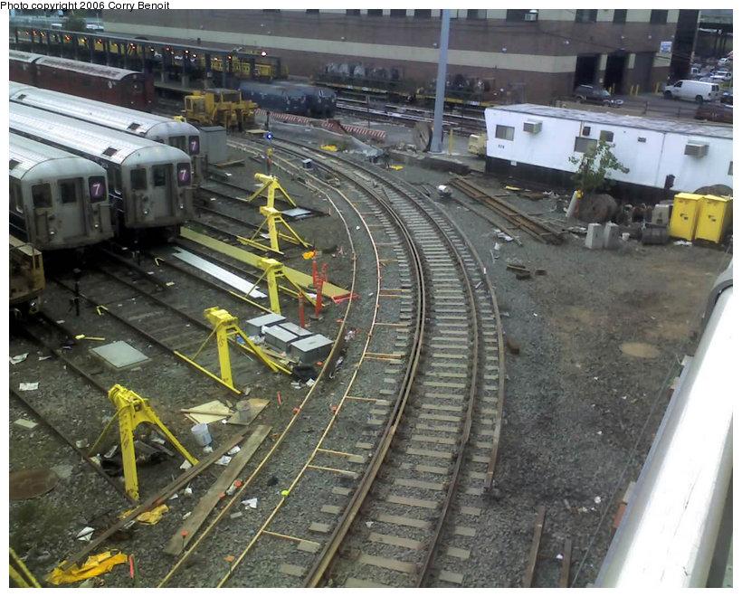 (171k, 820x660)<br><b>Country:</b> United States<br><b>City:</b> New York<br><b>System:</b> New York City Transit<br><b>Location:</b> Corona Yard<br><b>Photo by:</b> Corry Benoit<br><b>Date:</b> 10/26/2006<br><b>Notes:</b> Construction of new loop track at Corona Yard.<br><b>Viewed (this week/total):</b> 1 / 1646