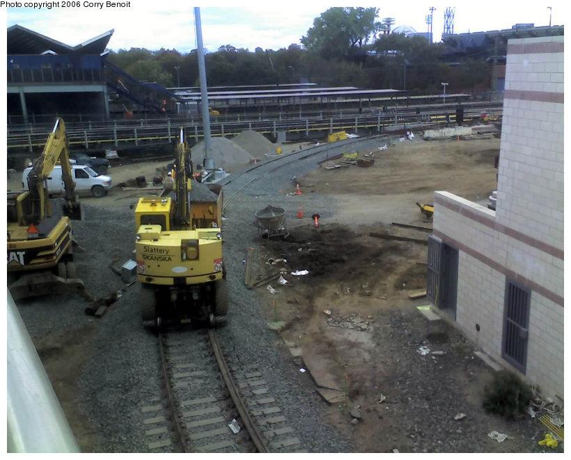 (136k, 820x660)<br><b>Country:</b> United States<br><b>City:</b> New York<br><b>System:</b> New York City Transit<br><b>Location:</b> Corona Yard<br><b>Photo by:</b> Corry Benoit<br><b>Date:</b> 10/26/2006<br><b>Notes:</b> Construction of new loop track at Corona Yard.<br><b>Viewed (this week/total):</b> 0 / 1432
