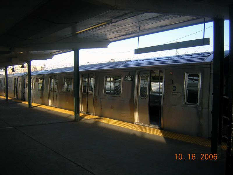 (79k, 800x600)<br><b>Country:</b> United States<br><b>City:</b> New York<br><b>System:</b> New York City Transit<br><b>Line:</b> BMT Canarsie Line<br><b>Location:</b> Rockaway Parkway <br><b>Route:</b> L<br><b>Car:</b> R-143 (Kawasaki, 2001-2002) 8161 <br><b>Photo by:</b> Robert Mencher<br><b>Date:</b> 10/16/2006<br><b>Viewed (this week/total):</b> 2 / 2501