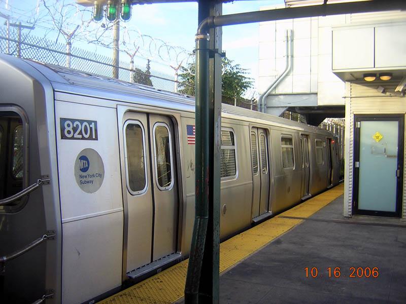 (107k, 800x600)<br><b>Country:</b> United States<br><b>City:</b> New York<br><b>System:</b> New York City Transit<br><b>Line:</b> BMT Canarsie Line<br><b>Location:</b> Rockaway Parkway <br><b>Route:</b> L<br><b>Car:</b> R-143 (Kawasaki, 2001-2002) 8201 <br><b>Photo by:</b> Robert Mencher<br><b>Date:</b> 10/16/2006<br><b>Viewed (this week/total):</b> 1 / 2118
