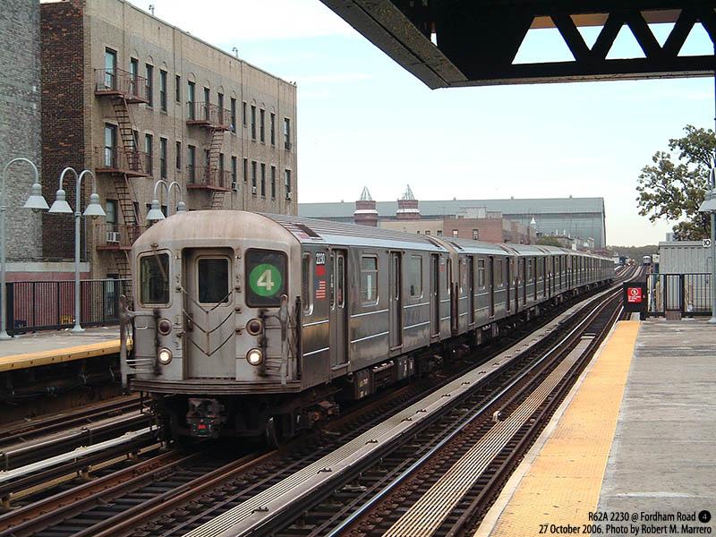 (159k, 800x600)<br><b>Country:</b> United States<br><b>City:</b> New York<br><b>System:</b> New York City Transit<br><b>Line:</b> IRT Woodlawn Line<br><b>Location:</b> Fordham Road <br><b>Route:</b> 4<br><b>Car:</b> R-62A (Bombardier, 1984-1987)  2230 <br><b>Photo by:</b> Robert Marrero<br><b>Date:</b> 10/27/2006<br><b>Viewed (this week/total):</b> 3 / 5095
