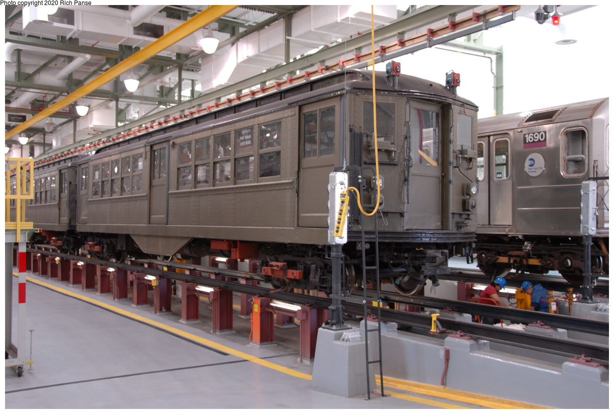 (191k, 1044x705)<br><b>Country:</b> United States<br><b>City:</b> New York<br><b>System:</b> New York City Transit<br><b>Location:</b> Corona Shops<br><b>Car:</b> Low-V (Museum Train)  <br><b>Photo by:</b> Richard Panse<br><b>Date:</b> 10/22/2006<br><b>Viewed (this week/total):</b> 3 / 2285