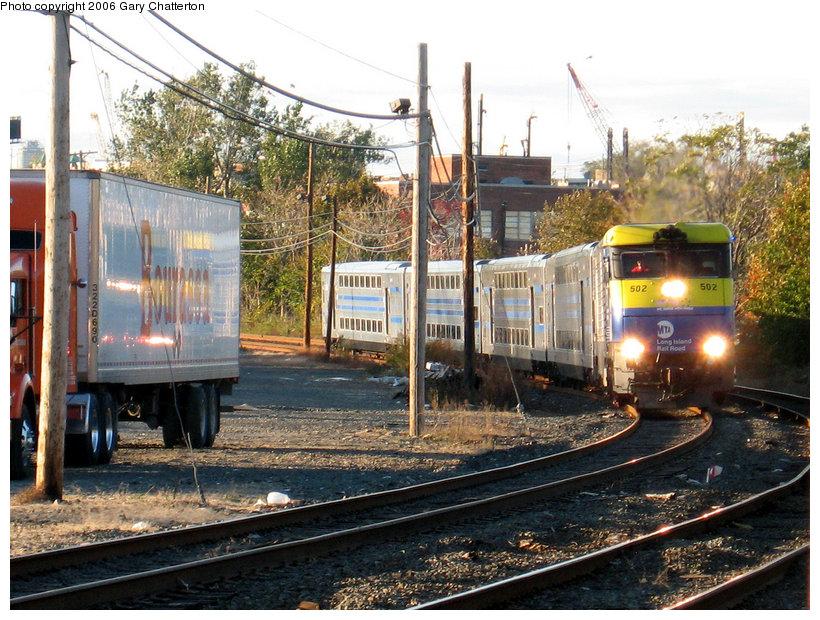 (200k, 820x620)<br><b>Country:</b> United States<br><b>City:</b> New York<br><b>System:</b> Long Island Rail Road<br><b>Line:</b> LIRR Long Island City<br><b>Location:</b> Maspeth Avenue <br><b>Car:</b> LIRR GM DM30AC (Dual Mode)  502 <br><b>Photo by:</b> Gary Chatterton<br><b>Date:</b> 10/26/2006<br><b>Viewed (this week/total):</b> 0 / 1990