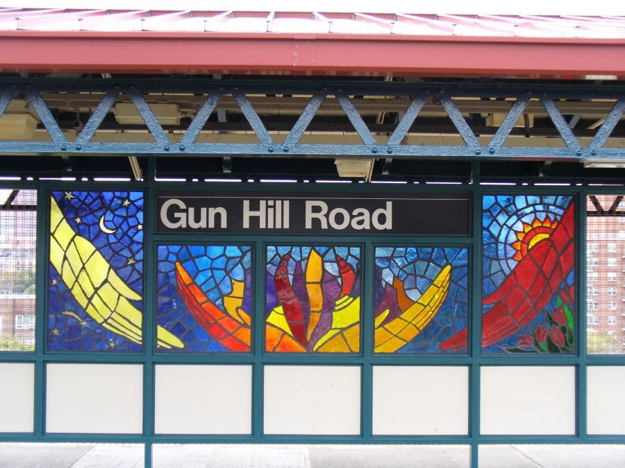 (126k, 900x675)<br><b>Country:</b> United States<br><b>City:</b> New York<br><b>System:</b> New York City Transit<br><b>Line:</b> IRT White Plains Road Line<br><b>Location:</b> Gun Hill Road <br><b>Photo by:</b> Robbie Rosenfeld<br><b>Date:</b> 10/27/2006<br><b>Artwork:</b> <i>Mi Sol, Mi Planeta, Mi Ciudad (My Sun, My Planet, My City)</i>, Andrea Arroyo (2006).<br><b>Viewed (this week/total):</b> 0 / 2595