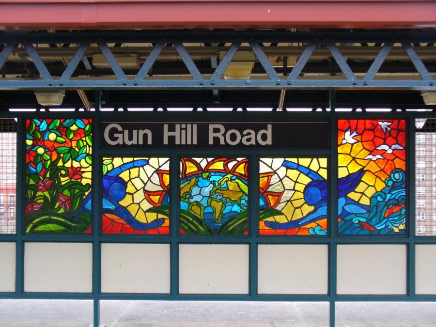 (128k, 900x675)<br><b>Country:</b> United States<br><b>City:</b> New York<br><b>System:</b> New York City Transit<br><b>Line:</b> IRT White Plains Road Line<br><b>Location:</b> Gun Hill Road <br><b>Photo by:</b> Robbie Rosenfeld<br><b>Date:</b> 10/27/2006<br><b>Artwork:</b> <i>Mi Sol, Mi Planeta, Mi Ciudad (My Sun, My Planet, My City)</i>, Andrea Arroyo (2006).<br><b>Viewed (this week/total):</b> 5 / 2082