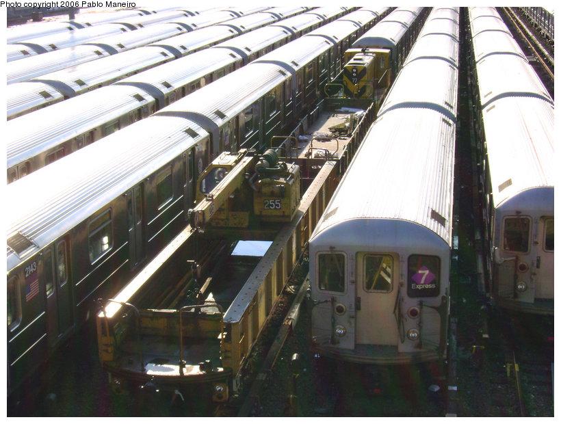 (159k, 820x620)<br><b>Country:</b> United States<br><b>City:</b> New York<br><b>System:</b> New York City Transit<br><b>Location:</b> Corona Yard<br><b>Car:</b> Crane Car 255 <br><b>Photo by:</b> Pablo Maneiro<br><b>Date:</b> 10/28/2006<br><b>Viewed (this week/total):</b> 1 / 1840