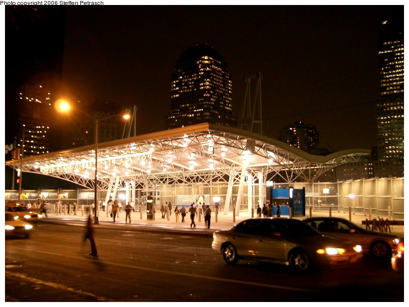 (137k, 820x615)<br><b>Country:</b> United States<br><b>City:</b> New York<br><b>System:</b> PATH<br><b>Location:</b> World Trade Center <br><b>Photo by:</b> Steffen Petrasch<br><b>Date:</b> 9/26/2005<br><b>Notes:</b> Station headhouse at night.<br><b>Viewed (this week/total):</b> 1 / 3967