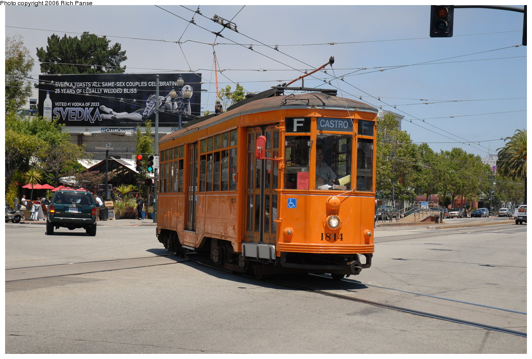 (211k, 1044x705)<br><b>Country:</b> United States<br><b>City:</b> San Francisco/Bay Area, CA<br><b>System:</b> SF MUNI<br><b>Location:</b> Market/16th/Noe <br><b>Car:</b> Milan Milano/Peter Witt (1927-1930)  1814 <br><b>Photo by:</b> Richard Panse<br><b>Date:</b> 7/1/2006<br><b>Viewed (this week/total):</b> 0 / 767