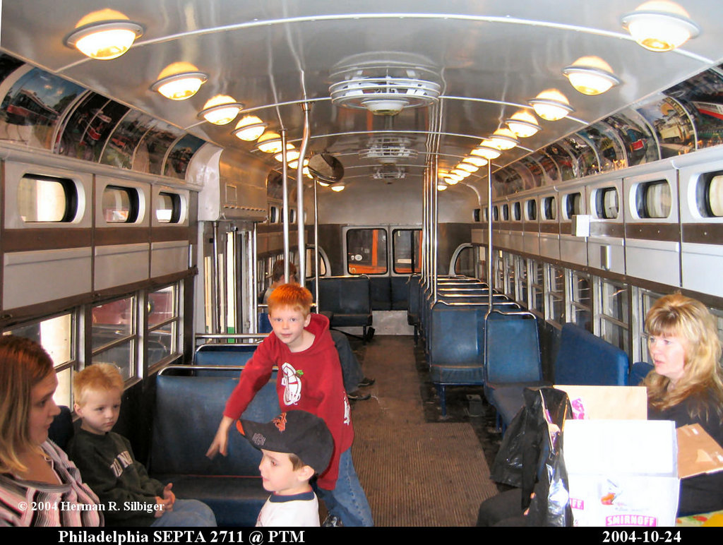 (227k, 1024x772)<br><b>Country:</b> United States<br><b>City:</b> Washington, PA<br><b>System:</b> Pennsylvania Trolley Museum <br><b>Car:</b> PTC/SEPTA Postwar All-electric PCC (St.Louis, 1947)  2711 <br><b>Photo by:</b> Herman R. Silbiger<br><b>Date:</b> 10/27/2004<br><b>Viewed (this week/total):</b> 0 / 2012