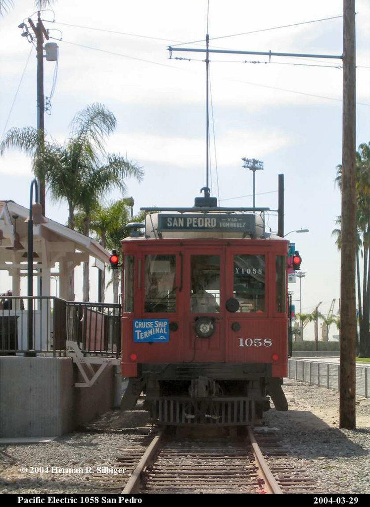 (171k, 748x1024)<br><b>Country:</b> United States<br><b>City:</b> Los Angeles, CA<br><b>System:</b> San Pedro Red Car Line<br><b>Car:</b>  1058 <br><b>Photo by:</b> Herman R. Silbiger<br><b>Date:</b> 3/29/2004<br><b>Viewed (this week/total):</b> 0 / 1557