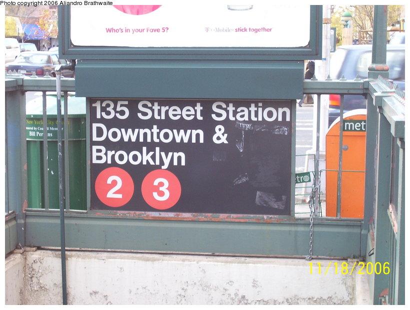 (114k, 820x620)<br><b>Country:</b> United States<br><b>City:</b> New York<br><b>System:</b> New York City Transit<br><b>Line:</b> IRT Lenox Line<br><b>Location:</b> 135th Street <br><b>Photo by:</b> Aliandro Brathwaite<br><b>Date:</b> 11/18/2006<br><b>Viewed (this week/total):</b> 3 / 2693