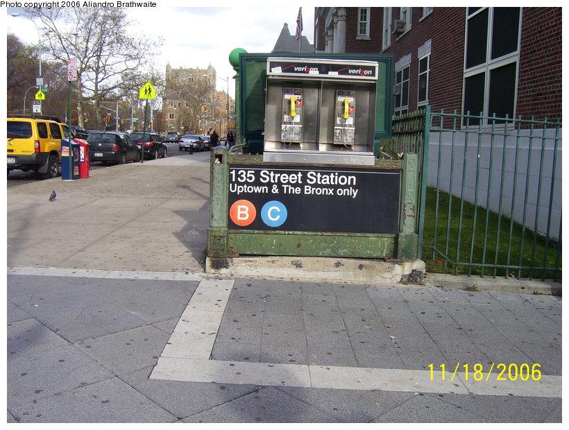 (152k, 820x620)<br><b>Country:</b> United States<br><b>City:</b> New York<br><b>System:</b> New York City Transit<br><b>Line:</b> IND 8th Avenue Line<br><b>Location:</b> 135th Street <br><b>Photo by:</b> Aliandro Brathwaite<br><b>Date:</b> 11/18/2006<br><b>Viewed (this week/total):</b> 2 / 4695