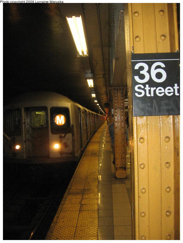 (144k, 620x820)<br><b>Country:</b> United States<br><b>City:</b> New York<br><b>System:</b> New York City Transit<br><b>Line:</b> BMT 4th Avenue<br><b>Location:</b> 36th Street <br><b>Route:</b> M<br><b>Car:</b> R-40 (St. Louis, 1968)   <br><b>Photo by:</b> Lorraine Maruska<br><b>Date:</b> 10/30/2006<br><b>Viewed (this week/total):</b> 0 / 3809