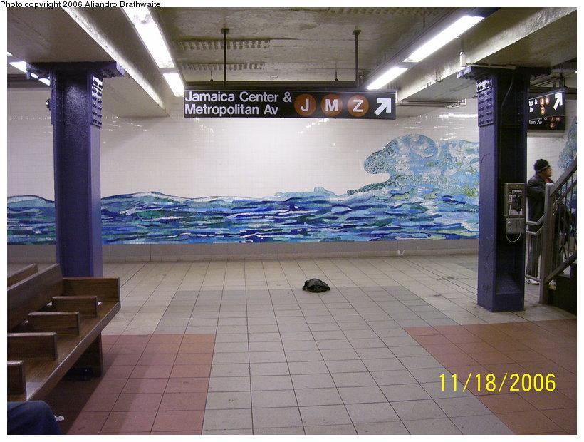 (122k, 820x620)<br><b>Country:</b> United States<br><b>City:</b> New York<br><b>System:</b> New York City Transit<br><b>Line:</b> IND 6th Avenue Line<br><b>Location:</b> Delancey Street <br><b>Photo by:</b> Aliandro Brathwaite<br><b>Date:</b> 11/18/2006<br><b>Artwork:</b> <i>Shad Crossing</i>, Ming Fay (2004).<br><b>Viewed (this week/total):</b> 4 / 2983