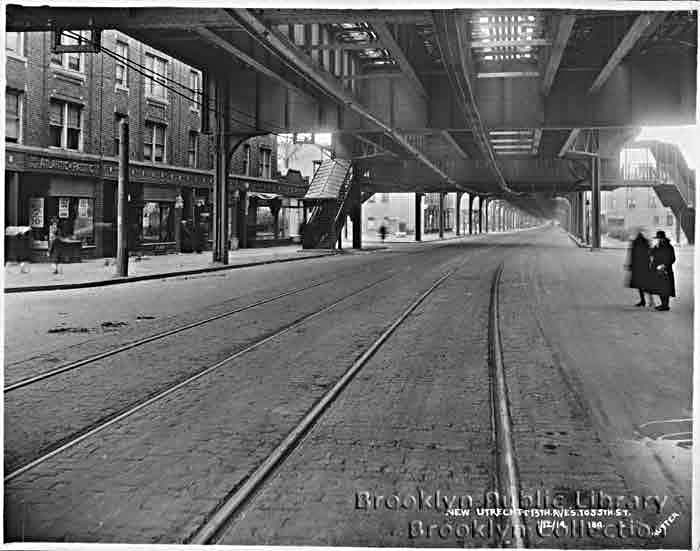 (61k, 700x551)<br><b>Country:</b> United States<br><b>City:</b> New York<br><b>System:</b> New York City Transit<br><b>Line:</b> BMT West End Line<br><b>Location:</b> 55th Street <br><b>Collection of:</b> Brooklyn Public Library (via Herbert Maruska)<br><b>Date:</b> 1919<br><b>Notes:</b> Under the West End el at 55th St.<br><b>Viewed (this week/total):</b> 0 / 1660