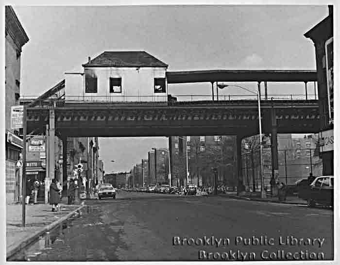 (48k, 700x546)<br><b>Country:</b> United States<br><b>City:</b> New York<br><b>System:</b> New York City Transit<br><b>Line:</b> BMT Myrtle Avenue Line<br><b>Location:</b> Nostrand Avenue <br><b>Collection of:</b> Brooklyn Public Library (via Herbert Maruska)<br><b>Date:</b> 1969<br><b>Viewed (this week/total):</b> 9 / 5072