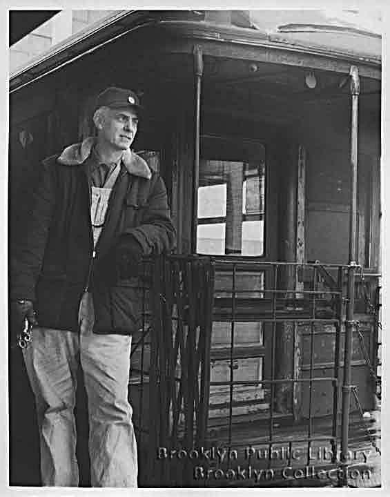 (48k, 565x720)<br><b>Country:</b> United States<br><b>City:</b> New York<br><b>System:</b> New York City Transit<br><b>Line:</b> BMT Myrtle Avenue Line<br><b>Location:</b> Bridge/Jay Street <br><b>Car:</b> BMT Elevated Gate Car  <br><b>Collection of:</b> Brooklyn Public Library (via Herbert Maruska)<br><b>Date:</b> 1958<br><b>Viewed (this week/total):</b> 2 / 3863