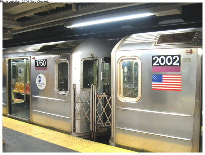 (115k, 820x620)<br><b>Country:</b> United States<br><b>City:</b> New York<br><b>System:</b> New York City Transit<br><b>Line:</b> IRT Flushing Line<br><b>Location:</b> Main Street/Flushing <br><b>Route:</b> 7<br><b>Car:</b> R-62A (Bombardier, 1984-1987)  2002/1750 <br><b>Photo by:</b> Gary Chatterton<br><b>Date:</b> 11/18/2006<br><b>Notes:</b> Exterior R62A cars showing location of full-width cab window of car with closed-up cab.<br><b>Viewed (this week/total):</b> 0 / 3322