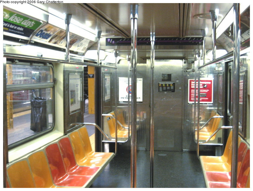 (122k, 820x620)<br><b>Country:</b> United States<br><b>City:</b> New York<br><b>System:</b> New York City Transit<br><b>Route:</b> 7<br><b>Car:</b> R-62A (Bombardier, 1984-1987)  1746 <br><b>Photo by:</b> Gary Chatterton<br><b>Date:</b> 11/18/2006<br><b>Notes:</b> Interior R62A cars showing location of closed-down full width cabs.<br><b>Viewed (this week/total):</b> 0 / 2676