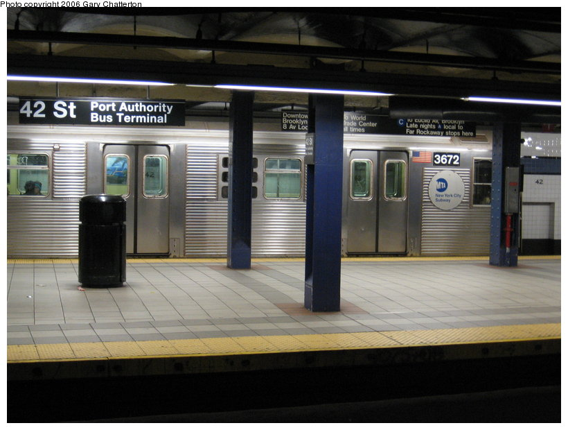 (107k, 820x620)<br><b>Country:</b> United States<br><b>City:</b> New York<br><b>System:</b> New York City Transit<br><b>Line:</b> IND 8th Avenue Line<br><b>Location:</b> 42nd Street/Port Authority Bus Terminal <br><b>Route:</b> E<br><b>Car:</b> R-32 (Budd, 1964)  3672 <br><b>Photo by:</b> Gary Chatterton<br><b>Date:</b> 11/4/2006<br><b>Viewed (this week/total):</b> 0 / 4929