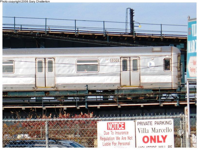 (147k, 820x620)<br><b>Country:</b> United States<br><b>City:</b> New York<br><b>System:</b> New York City Transit<br><b>Line:</b> IND Fulton Street Line<br><b>Location:</b> Rockaway Boulevard <br><b>Route:</b> A<br><b>Car:</b> R-44 (St. Louis, 1971-73) 5202 <br><b>Photo by:</b> Gary Chatterton<br><b>Date:</b> 11/11/2006<br><b>Viewed (this week/total):</b> 4 / 3136