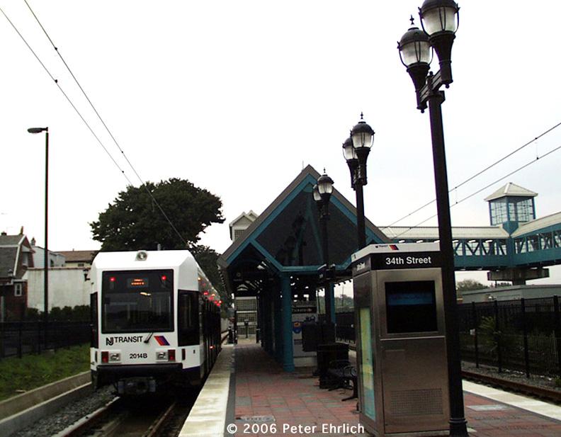 (152k, 792x617)<br><b>Country:</b> United States<br><b>City:</b> Bayonne, NJ<br><b>System:</b> Hudson Bergen Light Rail<br><b>Location:</b> East 34th Street <br><b>Car:</b> NJT-HBLR LRV (Kinki-Sharyo, 1998-99)  2014 <br><b>Photo by:</b> Peter Ehrlich<br><b>Date:</b> 8/27/2001<br><b>Notes:</b> E. 34th Street Station, at the time the south terminal.<br><b>Viewed (this week/total):</b> 1 / 1571