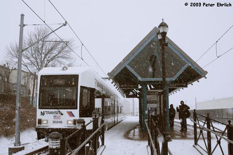 (154k, 792x526)<br><b>Country:</b> United States<br><b>City:</b> Jersey City, NJ<br><b>System:</b> Hudson Bergen Light Rail<br><b>Location:</b> Danforth Avenue <br><b>Car:</b> NJT-HBLR LRV (Kinki-Sharyo, 1998-99)  2024 <br><b>Photo by:</b> Peter Ehrlich<br><b>Date:</b> 3/6/2003<br><b>Notes:</b> Danforth Avenue Station outbound.<br><b>Viewed (this week/total):</b> 0 / 1775