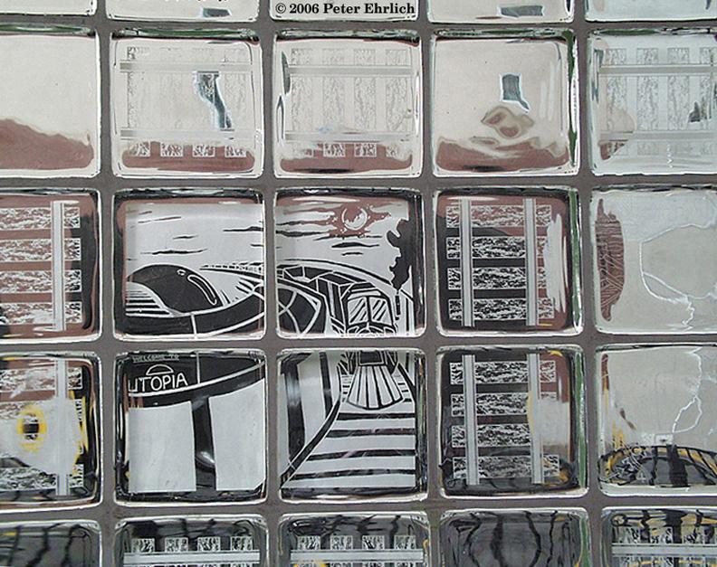 (271k, 792x627)<br><b>Country:</b> United States<br><b>City:</b> Jersey City, NJ<br><b>System:</b> Hudson Bergen Light Rail<br><b>Location:</b> Pavonia/Newport <br><b>Photo by:</b> Peter Ehrlich<br><b>Date:</b> 8/27/2001<br><b>Notes:</b> Artwork on the glass at Pavonia/Newport Station.<br><b>Viewed (this week/total):</b> 1 / 1127