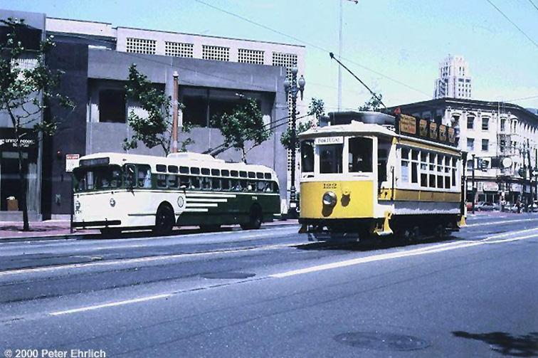 (177k, 756x503)<br><b>Country:</b> United States<br><b>City:</b> San Francisco/Bay Area, CA<br><b>System:</b> SF MUNI<br><b>Line:</b> SF MUNI Trolley Coach Routes<br><b>Location:</b> Market/9th<br><b>Car:</b> SF MUNI Trolley Coach (Marmon-Herrington TC48, 1950) 776 <br><b>Photo by:</b> Peter Ehrlich<br><b>Date:</b> 8/21/1983<br><b>Notes:</b> With Oporto tram 122 at Market/9th Street.<br><b>Viewed (this week/total):</b> 2 / 1665