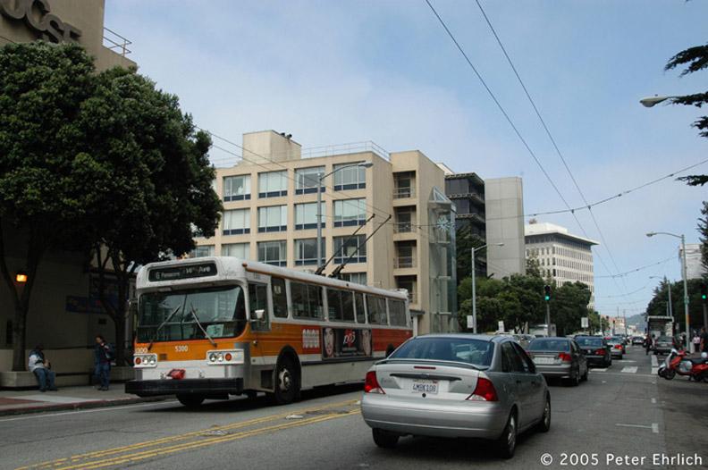 (151k, 792x526)<br><b>Country:</b> United States<br><b>City:</b> San Francisco/Bay Area, CA<br><b>System:</b> SF MUNI<br><b>Line:</b> SF MUNI Trolley Coach Routes<br><b>Car:</b> SF MUNI Trolley Coach (Flyer E800, 1975-77) 5300 <br><b>Photo by:</b> Peter Ehrlich<br><b>Date:</b> 9/21/2005<br><b>Notes:</b> Parnauss/UCSF Medical Center outbound.  Line 6-Parnassus.<br><b>Viewed (this week/total):</b> 1 / 1273