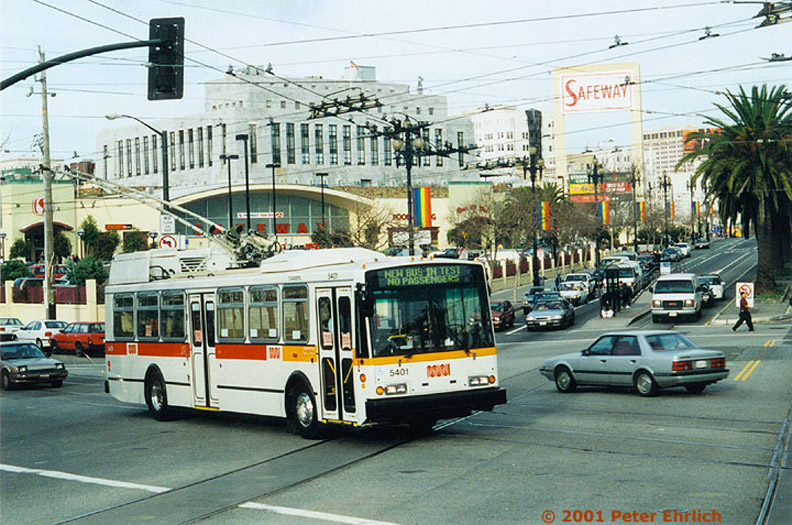 (217k, 792x525)<br><b>Country:</b> United States<br><b>City:</b> San Francisco/Bay Area, CA<br><b>System:</b> SF MUNI<br><b>Line:</b> SF MUNI Trolley Coach Routes<br><b>Car:</b> SF MUNI Trolley Coach (ETI 14Tr-SF 40ft., 2001-03) 5401 <br><b>Photo by:</b> Peter Ehrlich<br><b>Date:</b> 12/1999<br><b>Notes:</b> Church/Market outbound.  Line 22-Fillmore.  First of 2 prototype coaches.<br><b>Viewed (this week/total):</b> 0 / 1646