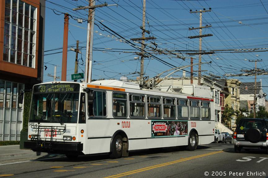 (222k, 864x574)<br><b>Country:</b> United States<br><b>City:</b> San Francisco/Bay Area, CA<br><b>System:</b> SF MUNI<br><b>Line:</b> SF MUNI Trolley Coach Routes<br><b>Car:</b> SF MUNI Trolley Coach (ETI 14Tr-SF 40ft., 2001-03) 5409 <br><b>Photo by:</b> Peter Ehrlich<br><b>Date:</b> 11/21/2005<br><b>Notes:</b> Bryant/17th Street.  Line 33 pull-in.<br><b>Viewed (this week/total):</b> 0 / 1580